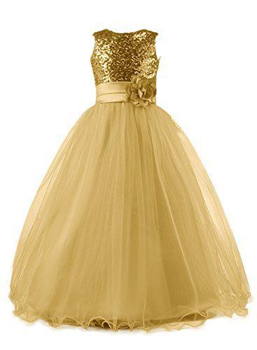 Mermaidtalee Long Sequin Top Tulle Flower Girl Dresses
