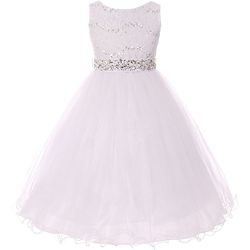 Big Girls Sleeveless Dress Glitters Sequined Bodice Double Layer Tulle