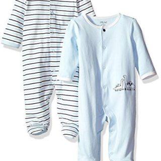 Little Me Baby 2 Pack Footies, Blue Stripe Newborn