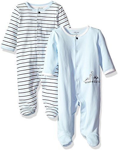 Little Me Baby 2 Pack Footies, Blue Stripe Newborn