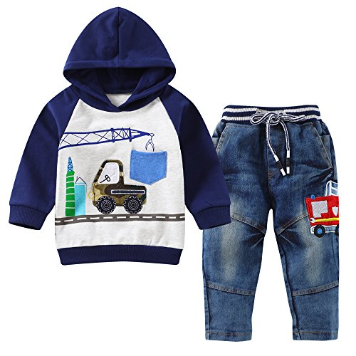 Baby Love Toddler Boys Clothes Outfit Truck Applique Hoodie Denim Jeans