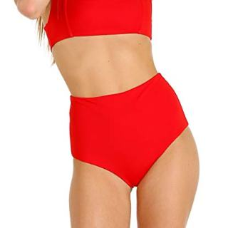Mara Hoffman Meli Square Neckline Tank Bikini Top Swimsuit, RED