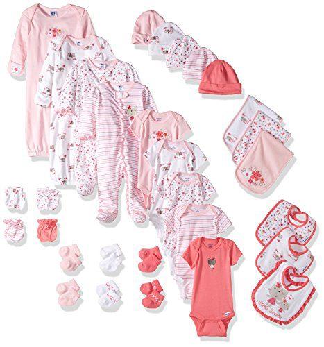 Gerber Baby Girls 30 Piece Essentials Gift Set, Lil' Flowers