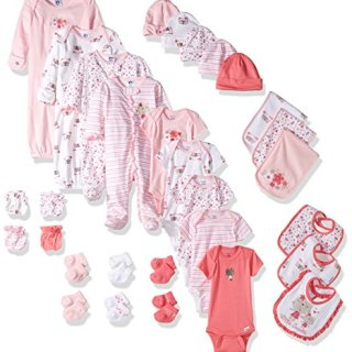 Gerber Baby Girls 30 Piece Essentials Gift Set, Lil' Flowers