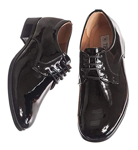 Round Toed Black Shiny Tux Shoes for Infants, Toddlers