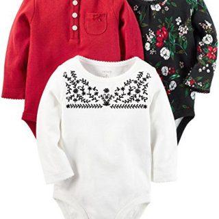 Carter's Baby Girls' Multi-pk Bodysuits, Black/White/Red NB