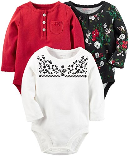 Carter's Baby Girls' Multi-pk Bodysuits, Black/White/Red NB