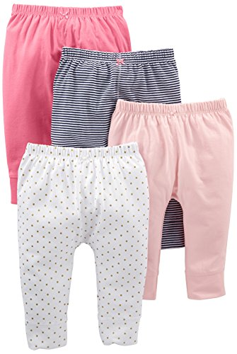 Simple Joys by Carter's Baby Girls' 4-Pack Pant, Navy Stripe