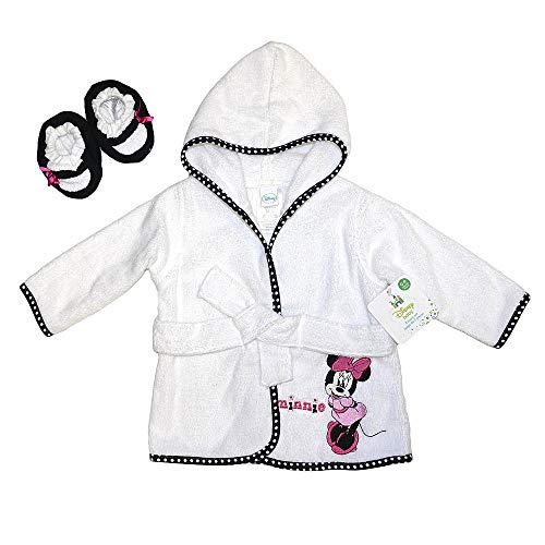Minnie Baby Girl's 0-9 Months White Terry Robe and Booties Set
