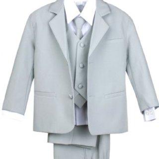Leadertux 5pc Boys Formal Wedding Light Gray Vest Necktie Sets