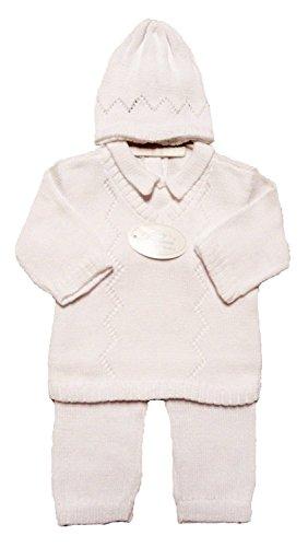 Baby's Trousseau Boy's White 3 Piece Cotton Knit Outfit - 3 Month