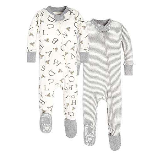 Burt's Bees Baby Unisex Pajamas, A-Bee-C/Stripes 2-Pack