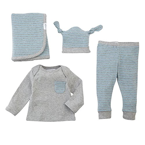 Mud Pie 4 Piece Long Sleeve Layette Gift Set, Blue