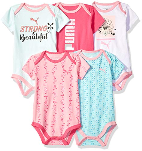 PUMA Baby Girls Five Pack Bodysuit Set, Pink Glow, 6-9M