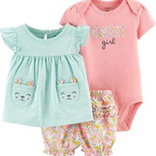 Carter's Baby Girls' 3-Piece Bodysuit & Diaper Cover Sets