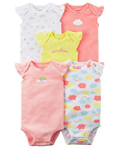 Carter's Baby Girls' 5 Pack Flutter Sleeve Rainbow Bodysuits 24 Months