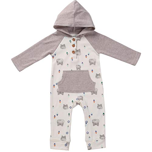 Asher and Olivia Baby Romper Hooded Boy Jumpsuit Long-Sleeve