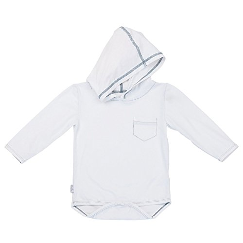 UV SKINZ UPF 50+ Baby Boy Hooded Sunzie- White - 12/24m