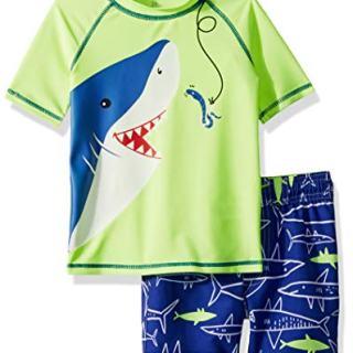 Carter's Boys' Rashguard Set, Yellow Shark, 9 Months