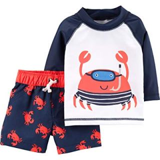 Carter's Baby Boys Rashguard Swim Set, Crab, 12 Months