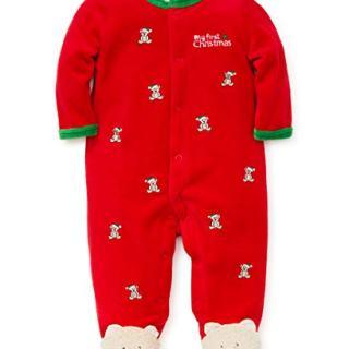 Little Me Baby Boys Velour Footie, Bear Christmas