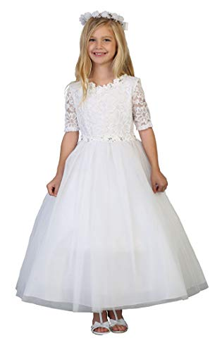 Big Girls' White First Communion Lace Tulle Half Sleeves Flower
