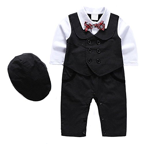 1Pcs Baby Boy Long Sleeves Jumpsuit Tuxedo Clothing Set