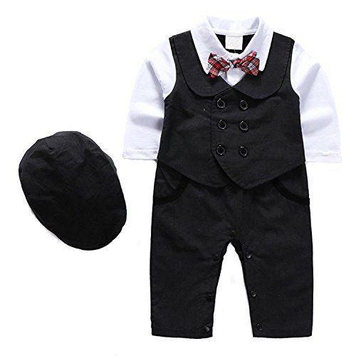 1Pcs Baby Boy Long Sleeves Jumpsuit Tuxedo Clothing Set