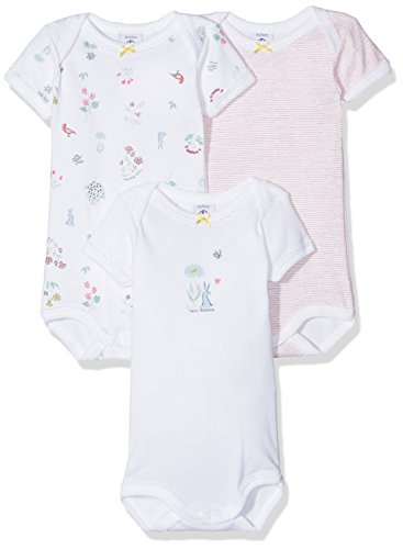 Petit Bateau Set of 3 Baby Girls Short Sleeve Bodysuits Style