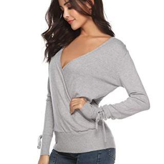 Abollria Women V-Neck Knit Sweater Long Sleeve Criss Cross