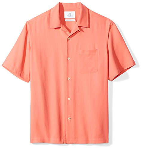 28 Palms Men's Relaxed-Fit 100% Silk Camp Shirt, Coral, Medium
