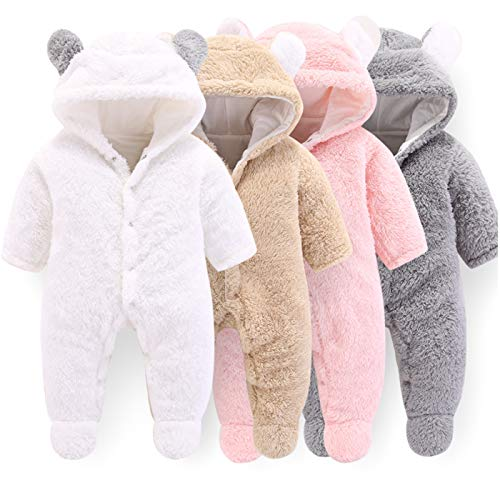 VNVNE Newborn Baby Cartoon Bear Snowsuit Warm Fleece