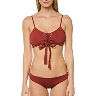 Mara Hoffman Women's Burgundy Scarlett Lace-Up Bralette Bikini
