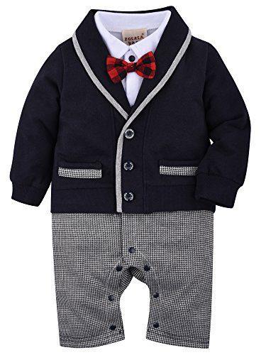 ZOEREA Baby Boys Romper Suits Bow Tie Baptism Wedding Tuxedo