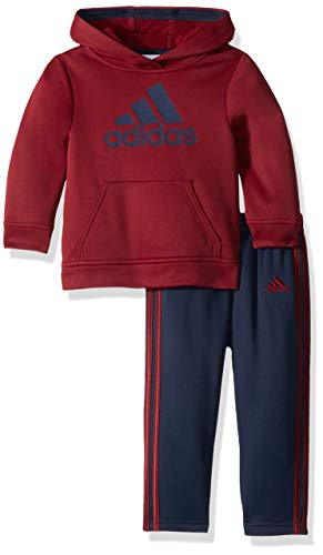 adidas Baby Boys Zip Hoodie and Pant Set, Burgundy 18 Months