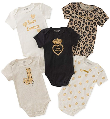 Juicy Couture Baby Girls 5 Packs Bodysuit, Oatmeal/Gold/Black