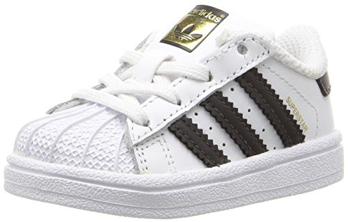adidas Originals Boys' Superstar I Running Shoe Black/White