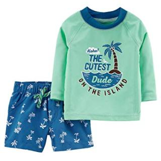 Carter's Baby Boys' Rashguard Set (9 Months, Mint/Dude)