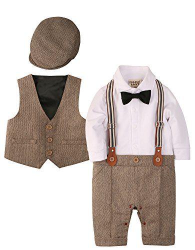 ZOEREA Baby Boy Outfits Set, 3pcs Long Sleeves Gentleman