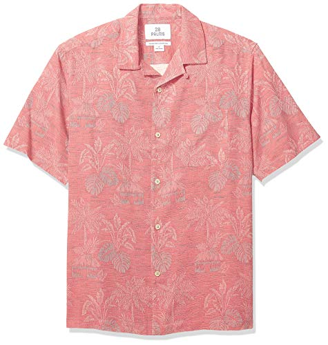 Palms Men's Relaxed-Fit 100% Silk Tropical Leaves Jacquard Shirt
