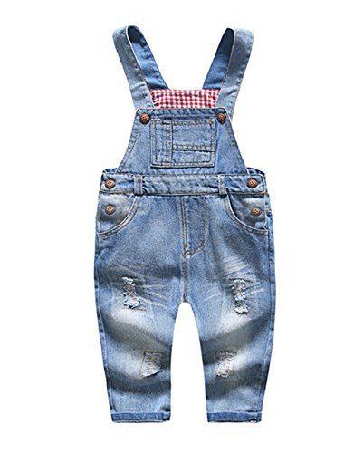 Kidscool Baby & Little Boys/girls Blue Ripped Denim Overalls