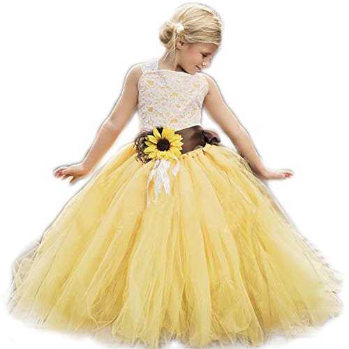 AnnaLin Yellow Tulle with Sunflower Belt Flower Girl Dress