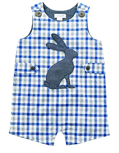 Mud Pie Baby Boys Easter Gingham Sleeveless One Piece Shortall