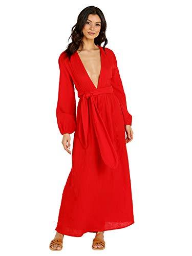 Mara Hoffman Women's Luna V Neck Belted Long Sleeve Cover Up Dress
