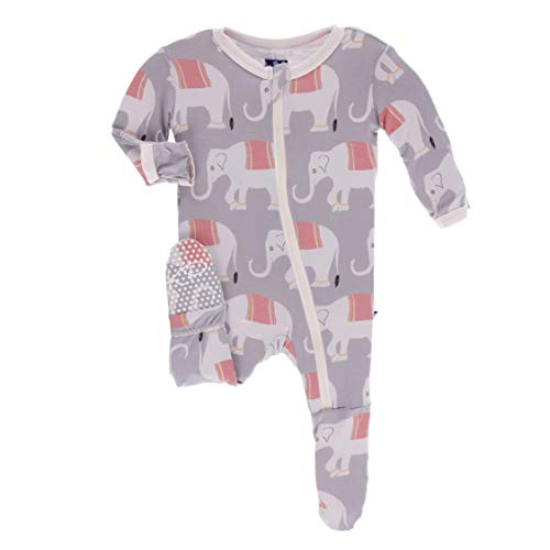Kickee Pants Little Girls Print Footie with Zipper - Feather Indian Elephant