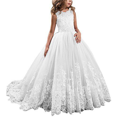 KSDN White Wedding Flower Girls Dress Lace Tulle