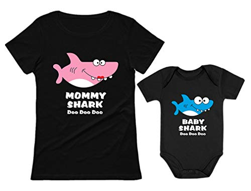 Baby Shark & Mommy Shark Doo Doo Doo T-Shirt Bodysuit Set
