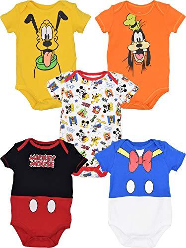 Disney Baby Boy Girl 5 Pack Bodysuits Mickey Mouse Donald Duck Goofy Pluto