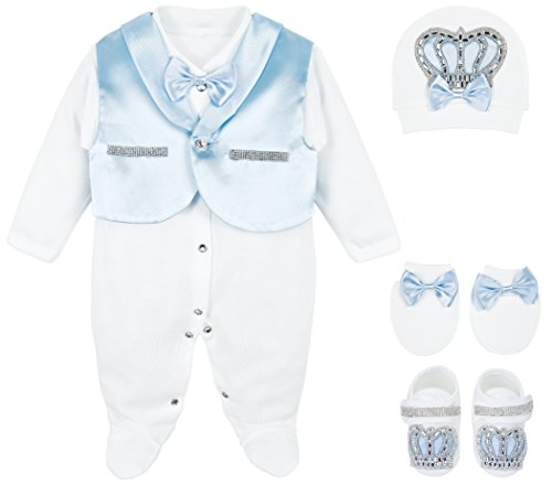 Lilax Baby Boy Jewels Crown Tuxedo Outfit Layette 5 Piece Gift Set