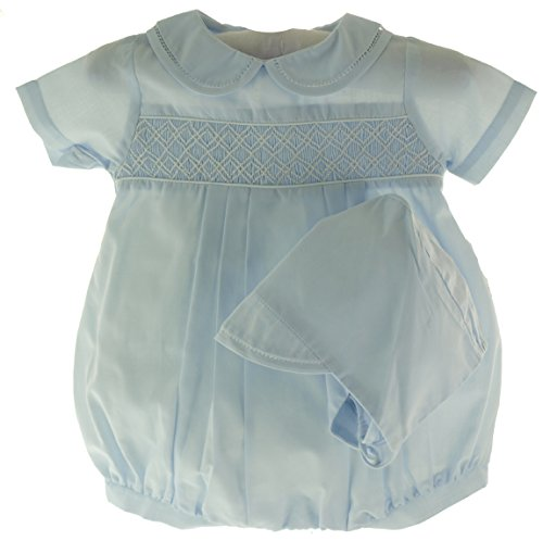 Hiccups Childrens Boutique Newborn Boys Blue Smocked Bubble